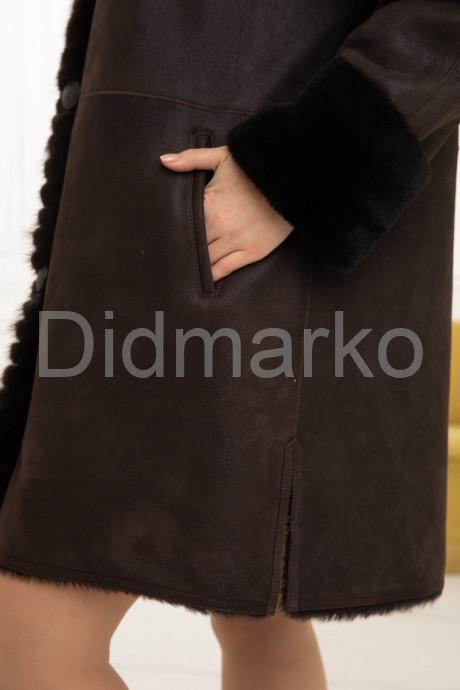 Трапециевидная дублёнка с мехом норки