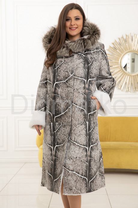 Купить Женская дубленка с принтом под мрамор в Москве и Санкт-Петербурге