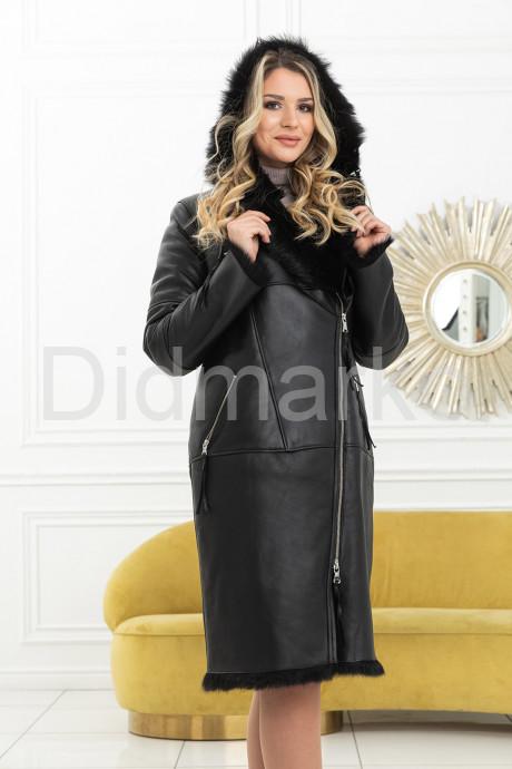 Купить Стильная зимняя дубленка со съемным капюшоном 2020-2021 в Москве и Санкт-Петербурге