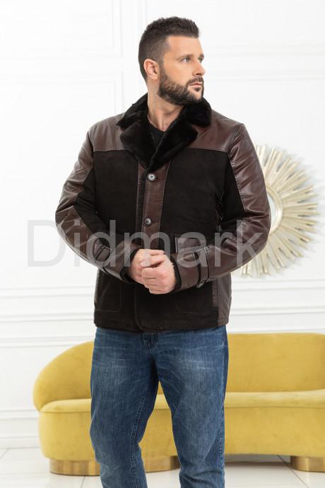 Стильная мужская дубленка на пуговицах