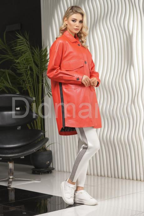Удлиненная кожаная куртка с молниями по бокам PUNTO