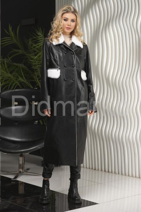 Стильное кожаное женское пальто с отстёгивающимся мехом
