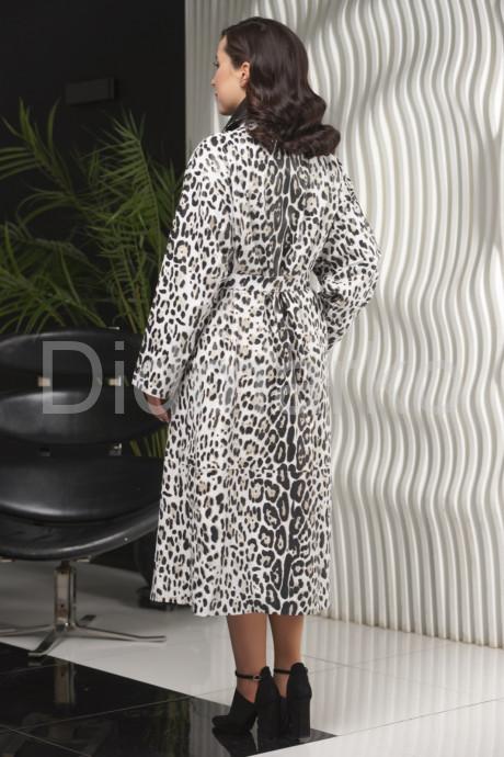 Кожаный плащ с принтом леопарда