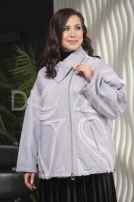 Кожаная куртка больших размеров цвета лаванды