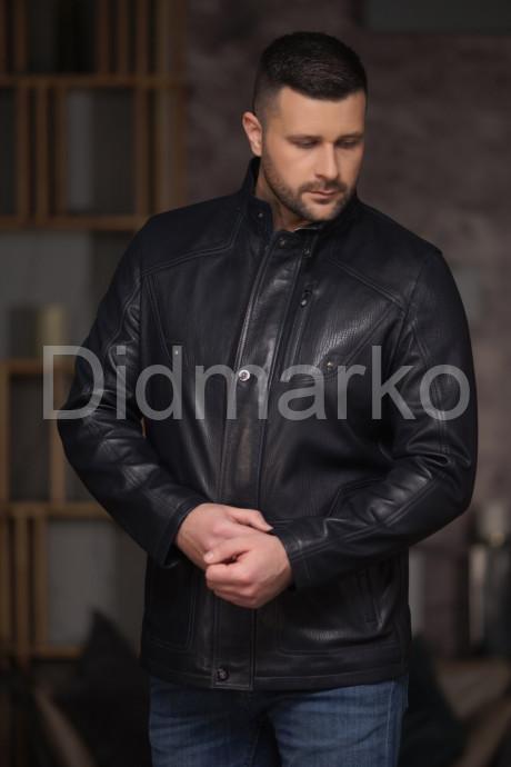 Купить Стильная мужская кожаная куртка чернильного цвета в Москве и Санкт-Петербурге