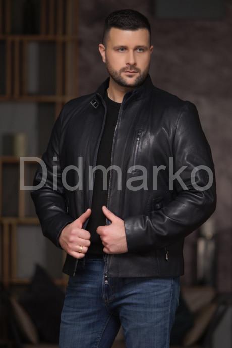 Купить Короткая мужская кожаная куртка синего цвета в Москве и Санкт-Петербурге