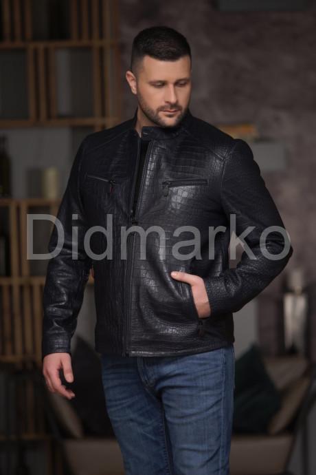 Синяя мужская кожаная куртка под кроку