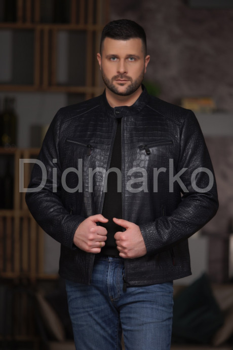 Купить Синяя мужская кожаная куртка под кроку в Москве и Санкт-Петербурге