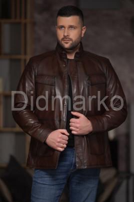 Мужская кожаная куртка в стиле BUGATTI