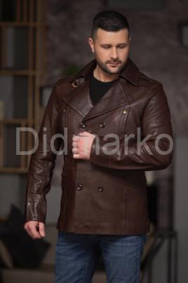 Мужской двубортный кожаный пиджак