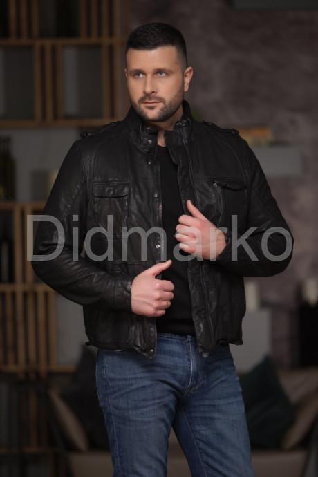 Купить Короткая кожаная куртка в стиле милитари в Москве и Санкт-Петербурге