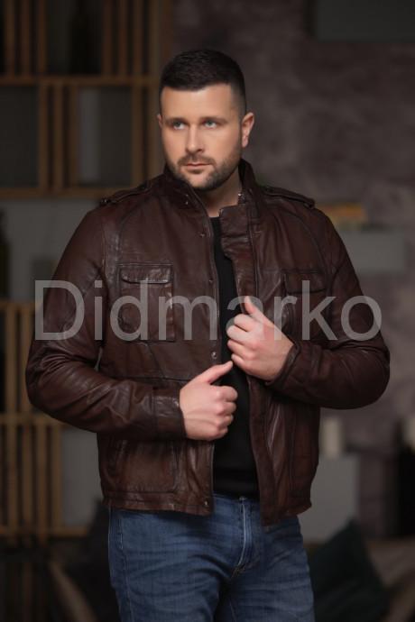 Купить Необычная кожаная куртка в стиле милитари в Москве и Санкт-Петербурге