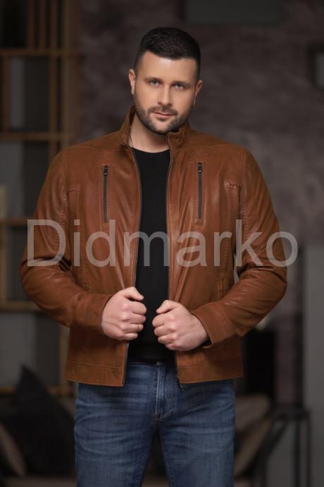 Купить Мужская короткая кожаная куртка рыжего цвета в Москве и Санкт-Петербурге