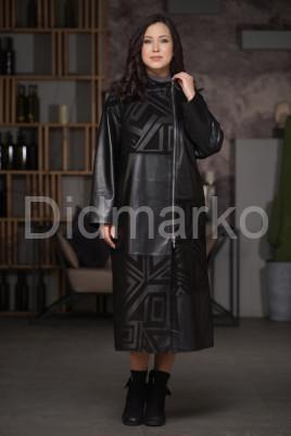 Женский кожаный плащ с замшевыми вставками