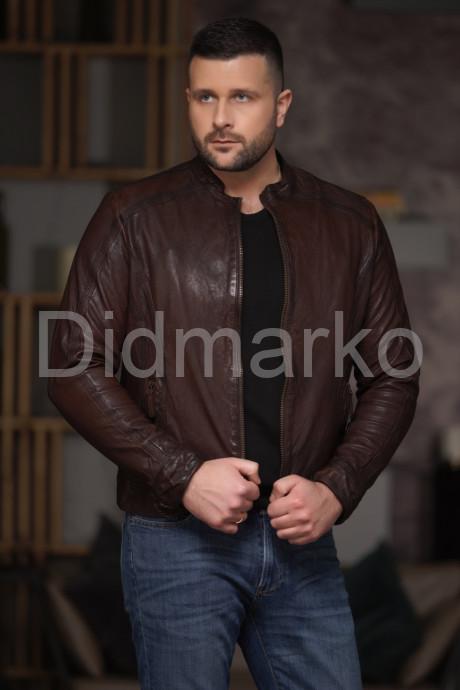 Мужская кожаная куртка из стираной кожи