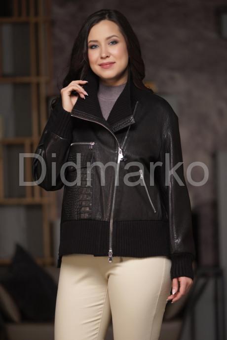 Укороченная кожаная куртка с трикотажными вставками